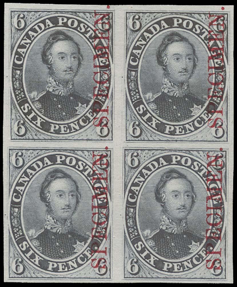 CANADA 1851  SG2 Proof 6d Prince Albert in dark grey overprinted Specimen