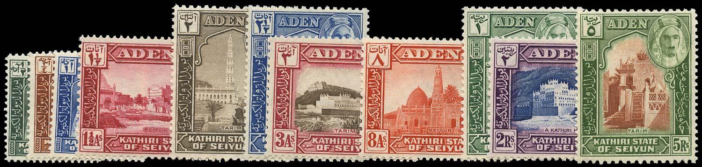 ADEN - KATHIRI 1942  SG1/11 Mint set of 11 to 5r unmounted