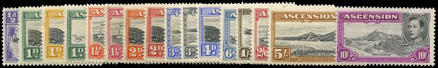 ASCENSION 1938  SG38b/47b Mint set of 16 to 10s unmounted