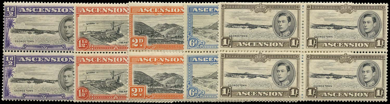 ASCENSION 1938  SG38/44 btwn Mint ½d, 1½d, 2d, 6d, 1s 1938 printings unmounted