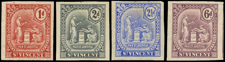 ST VINCENT 1909  SG103/5, 107 Proof