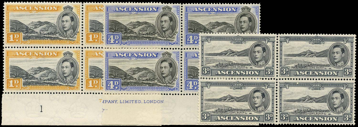 ASCENSION 1938  SG39a, 42a, 42c Mint 1d, 3d, 4d 1940 printings unmounted