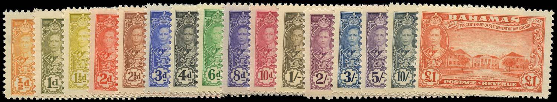 BAHAMAS 1948  SG178/93 Mint Tercentenary set of 16 to £1 unmounted