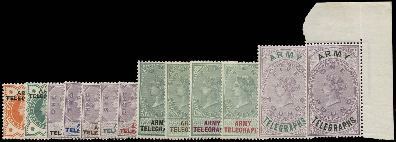 GB 1896  SGAT1-13 Telegraph Army Telegraphs set of 13
