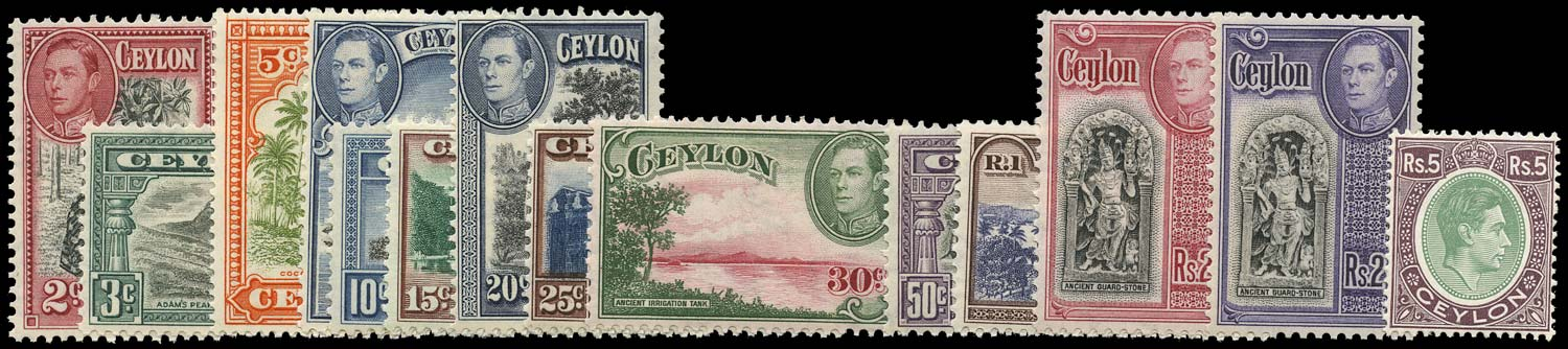 CEYLON 1938  SG386c/97a Mint KGVI set of 14 to 5r
