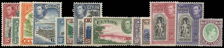 CEYLON 1938  SG386c/97a Mint KGVI set of 14 to 5r unmounted