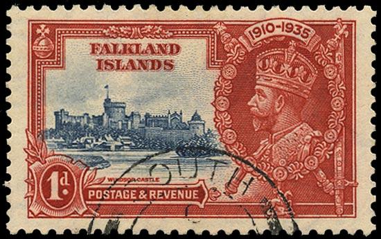 FALKLAND ISLANDS 1935  SG139e Used Jubilee 1d Double Flagstaff South Georgia cds