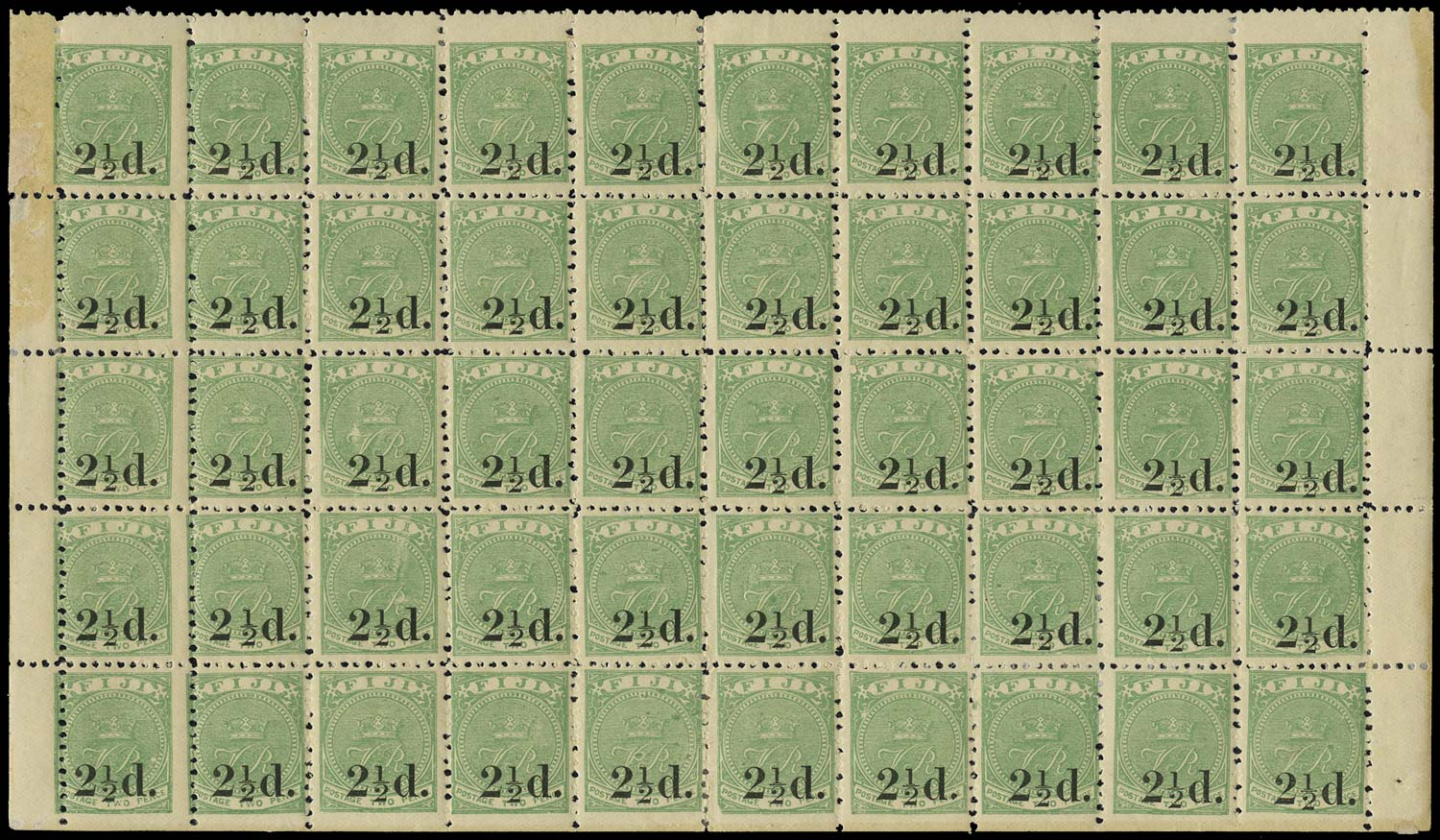FIJI 1891  SG70, 71 Mint 2½d on 2d green complete pane of 50