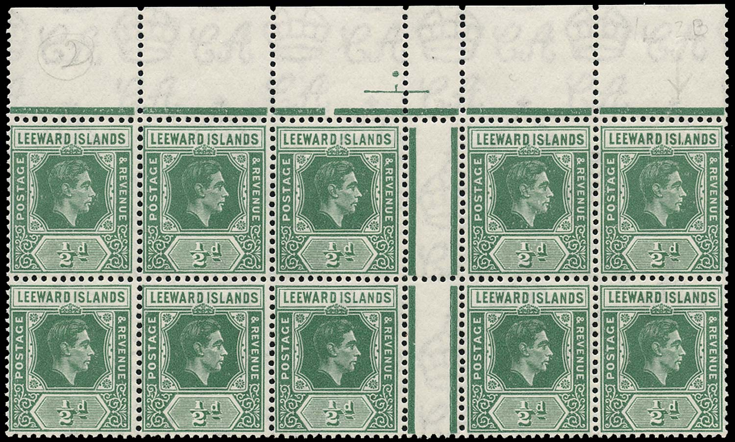 LEEWARD ISLANDS 1938  SG96a Mint ½d emerald variety ISI.ANDS unmounted