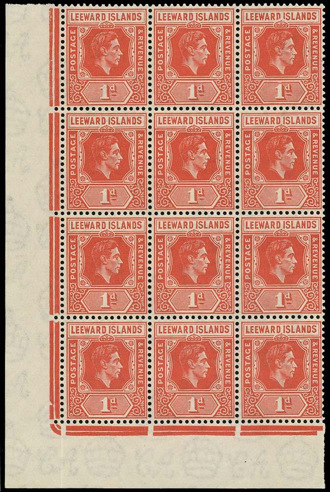 LEEWARD ISLANDS 1938  SG99a Mint 1d scarlet D I flaw unmounted
