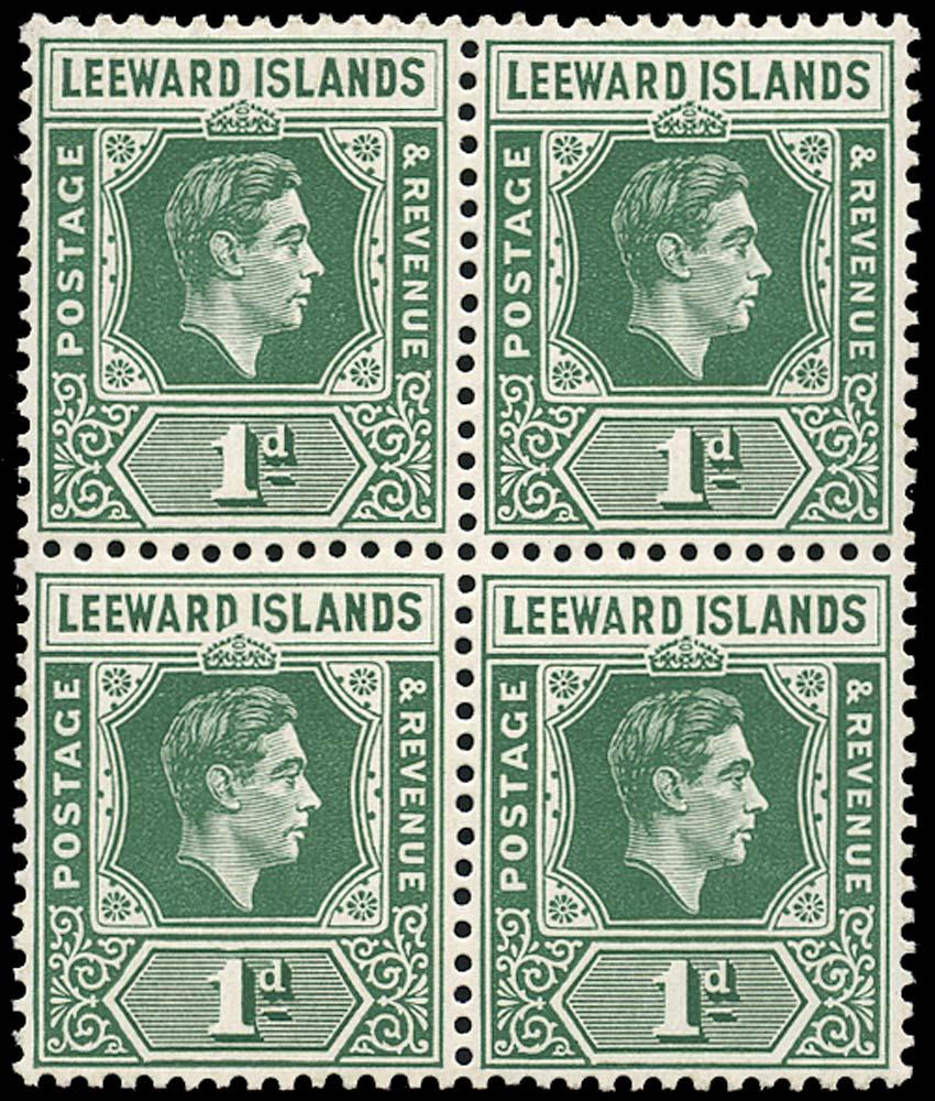 LEEWARD ISLANDS 1938  SG100a Mint 1d blue-green D I flaw unmounted