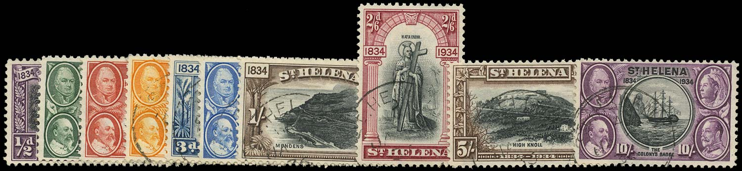 ST HELENA 1934  SG114/23 Used Centenary set of 10 to 10s