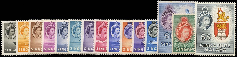 SINGAPORE 1955  SG38/52 Mint QEII set of 15 to $5 unmounted
