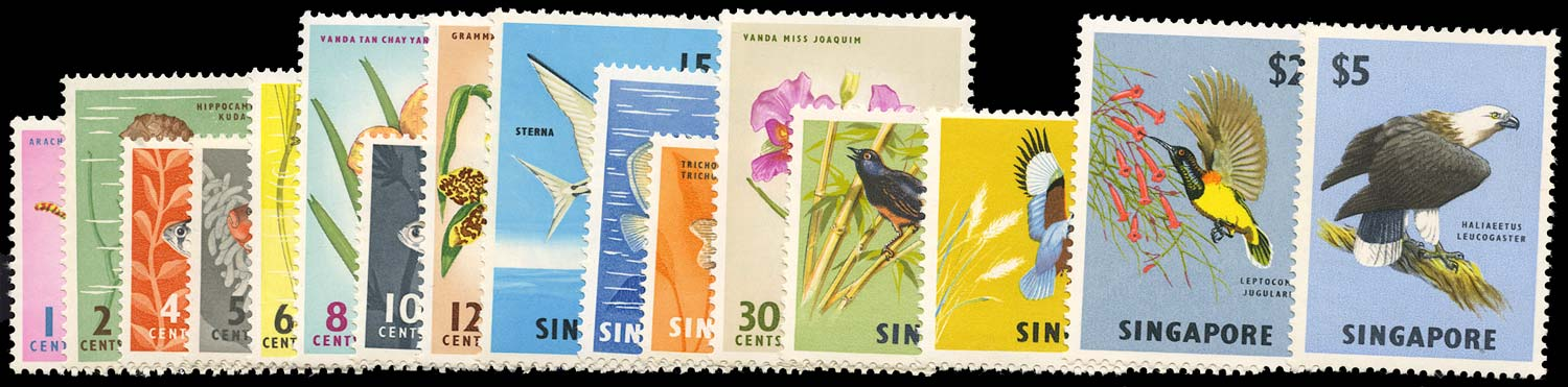 SINGAPORE 1962  SG63/77 Mint set of 16 to $10 unmounted