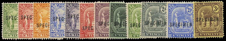 ST VINCENT 1907  SG94s/8s, 99s/101s, 102s, 104s/6s Specimen