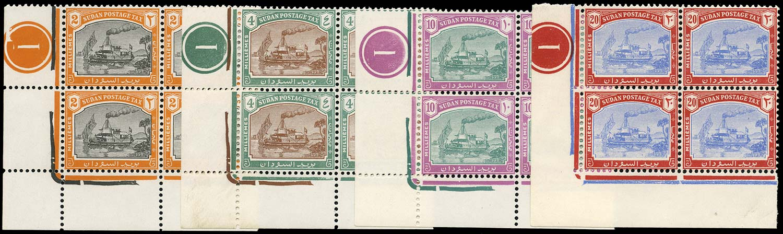 SUDAN 1948  SGD12/15 Postage Due Plate Blocks