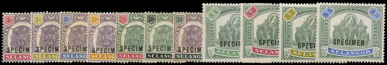 MALAYA - SELANGOR 1895  SG54s/64s Specimen