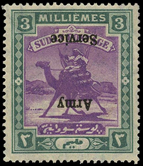 SUDAN 1906  SGA8a Official Army Service 3m error overprint inverted