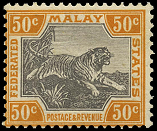 MALAYA - F.M.S. 1922  SG74aw Mint 50c Script watermark Crown to right of CA