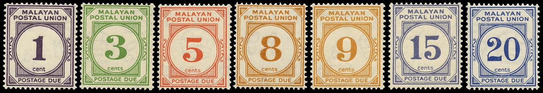 MALAYA - M.P.U. 1945  SGD7/13 Postage Due set of 7 to 20c perf 15x14 unmounted