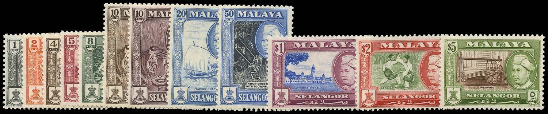 MALAYA - SELANGOR 1957  SG116/27 Mint set of 12 to $5 unmounted