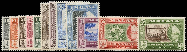 MALAYA - TRENGGANU 1957  SG89/99a Mint set of 12 to $5 unmounted