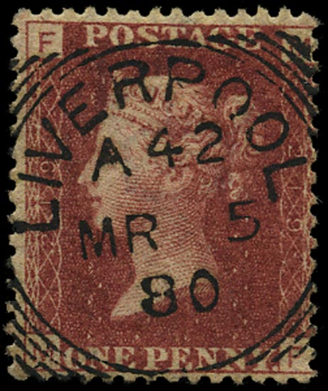 GB 1879  SG43 Pl.219 Used Liverpool squared circle