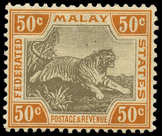 MALAYA - F.M.S. 1904  SG47d Mint 50c grey-brown and orange-brown