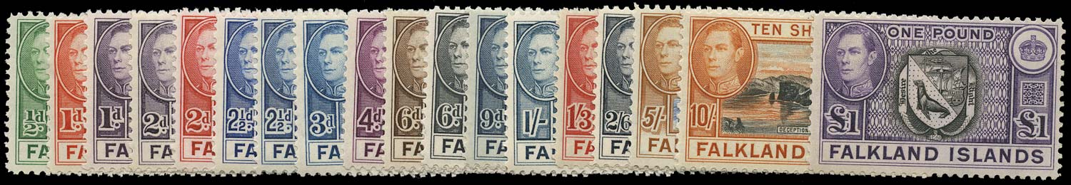FALKLAND ISLANDS 1938  SG146/63 Mint unmounted KGVI set of 18 to £1