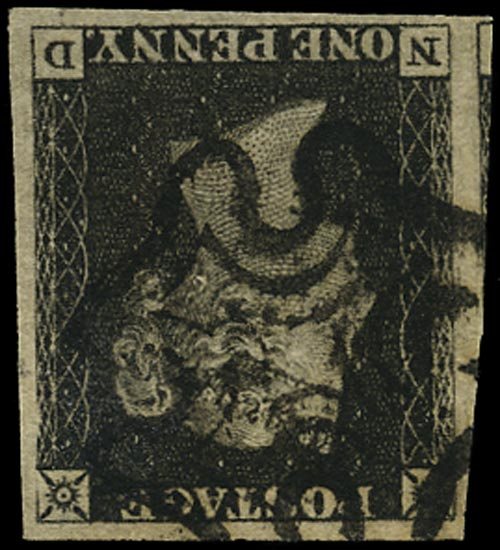 GB 1840  SG2wi Pl.1b Penny Black (Wmk. Inverted) example lettered ND