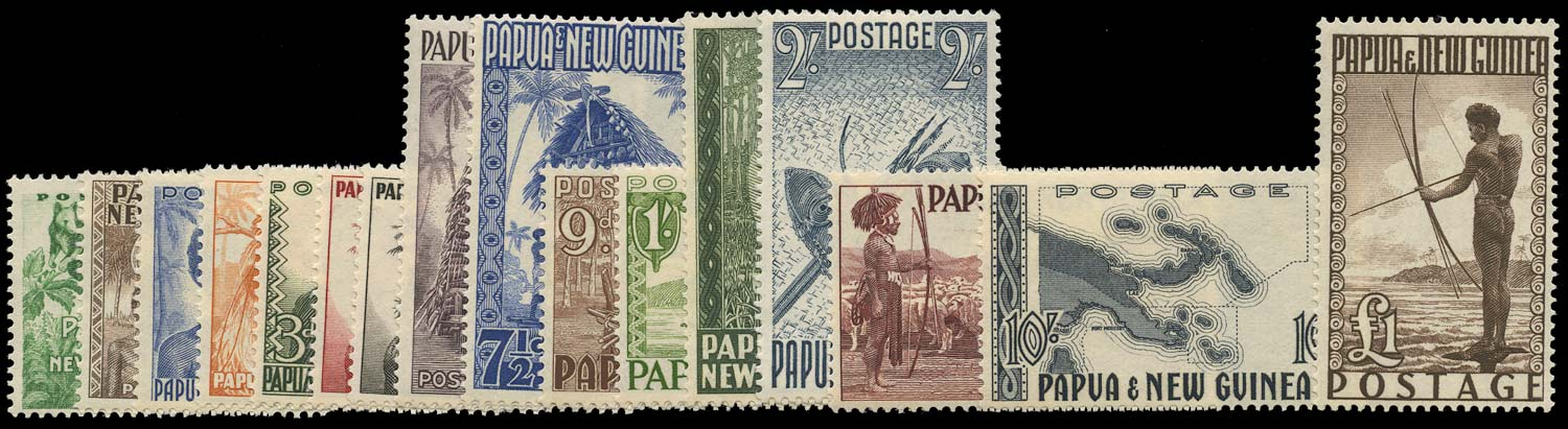 PAPUA NEW GUINEA 1952  SG1/12 Mint unmounted pictorial set of 16 to £1