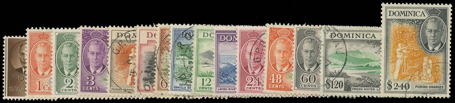 DOMINICA 1951  SG120/34 Used KGVI new currency set of 15 to $2.40