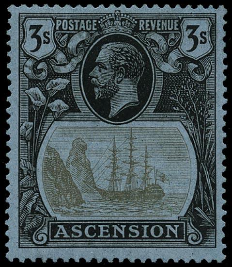 ASCENSION 1924  SG20a Mint 3s variety Broken Mainmast