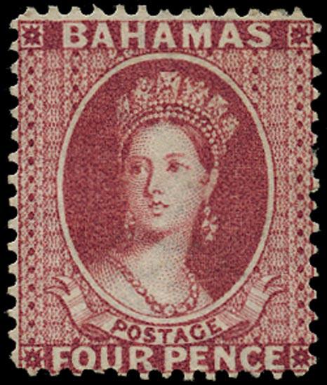 BAHAMAS 1863  SG35 Mint 4d bright rose watermark CC perf 14