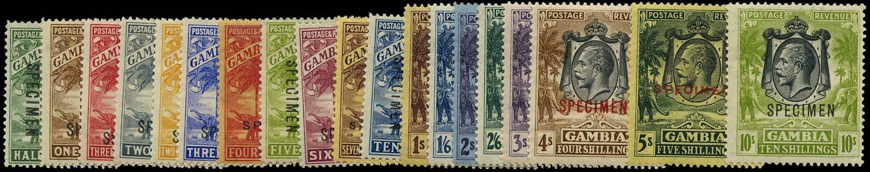GAMBIA 1922  SG122s/42s Specimen watermark Script CA set of 19 to 10s