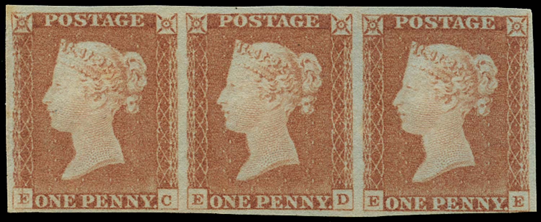 GB 1841  SG8 Pl.68 Mint unused o.g. strip of three