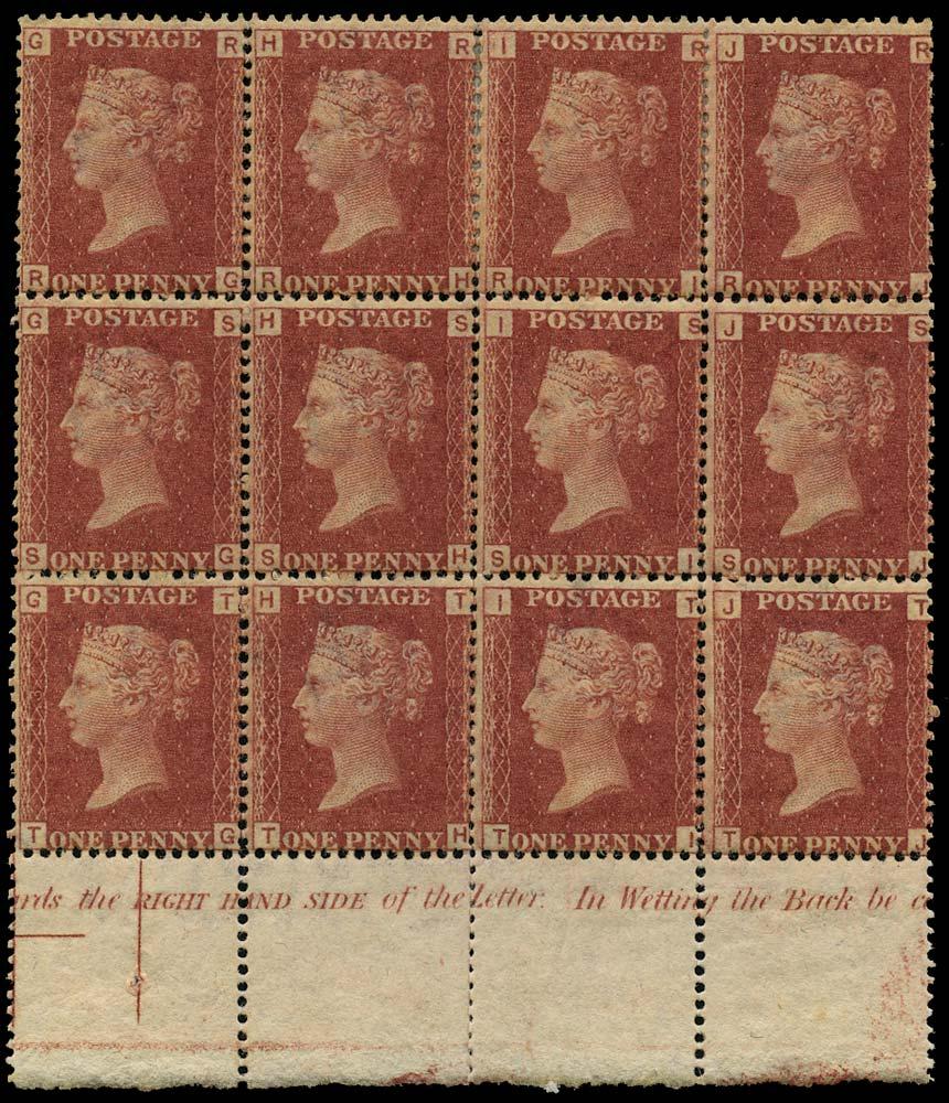 GB 1879  SG43 Pl.223 Mint unused o.g. block of twelve