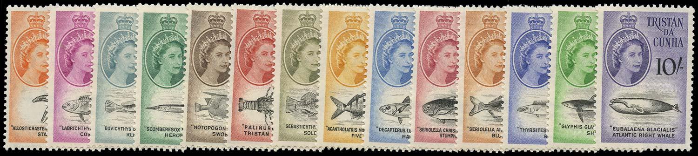 TRISTAN DA CUNHA 1960  SG28/41 Mint unmounted set of 11 to 10s