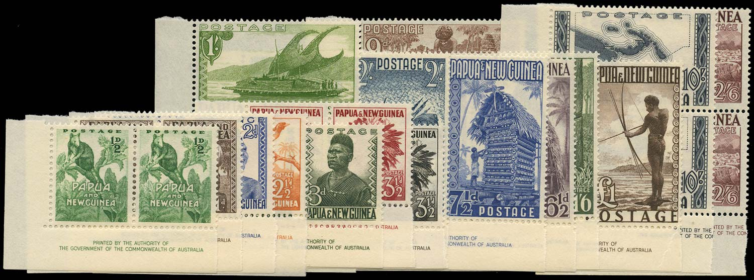 PAPUA NEW GUINEA 1952  SG1/15 Mint unmounted set of 16 to £1 with imprint