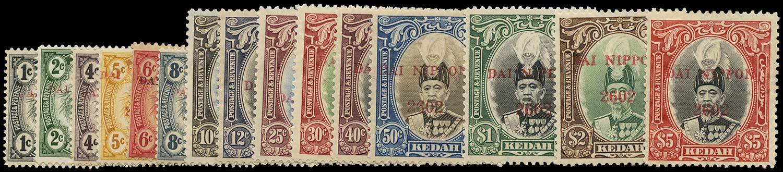 MALAYA JAP OCC 1942  SGJ1/15 Mint Kedah set of 15 to $5