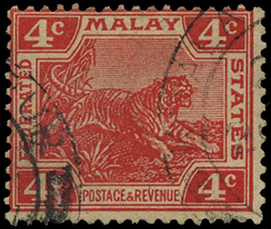 MALAYA - F.M.S. 1904  SG38b Used 4c Tiger variety watermark upright