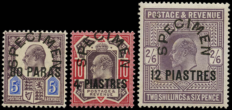 BRITISH LEVANT 1902  SG9s/11s Specimen