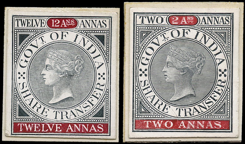 INDIA 1863 Revenue Revenue Die proof set in card