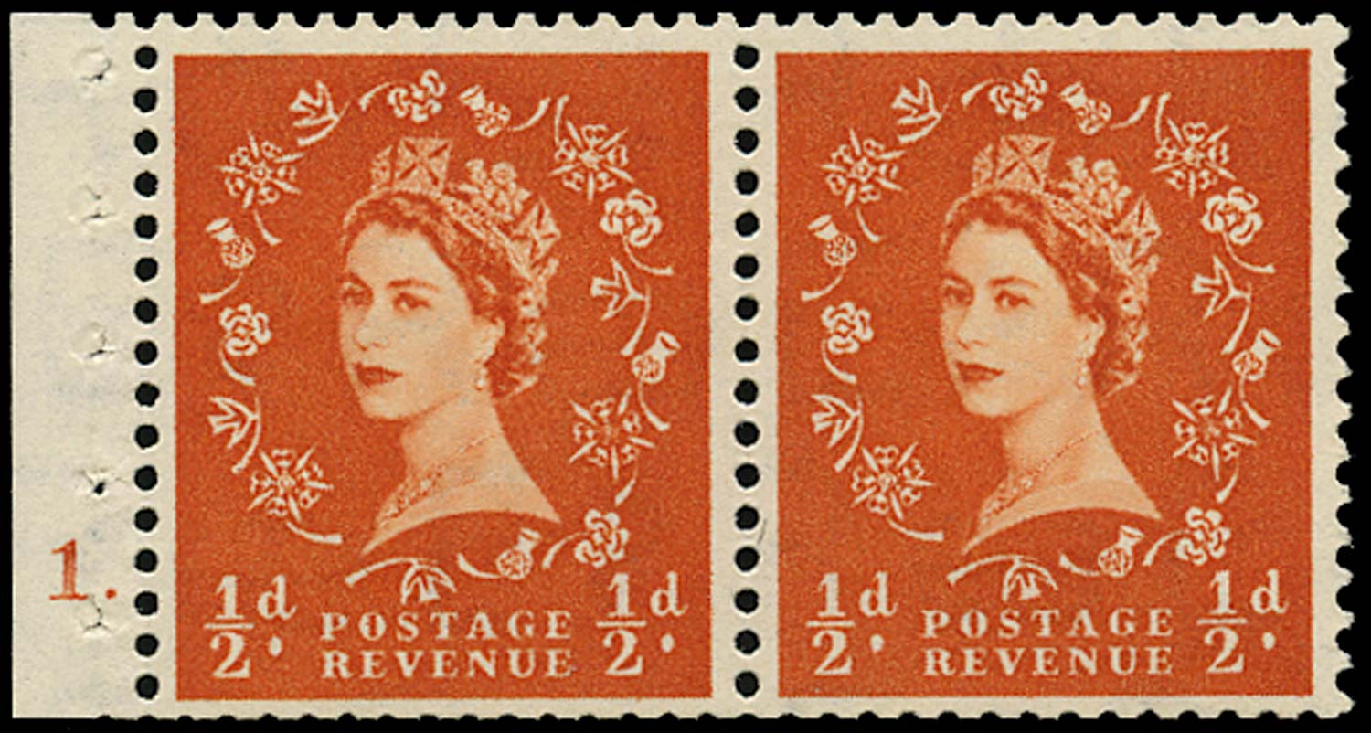 GB 1952  SG515n Booklet pane cylinder 1 dot booklet pane of two