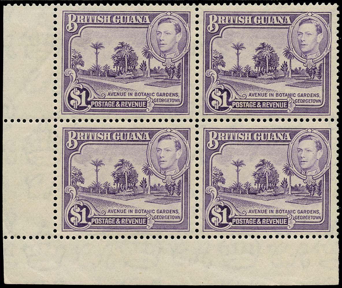 BRITISH GUIANA 1938  SG317a Mint unmounted KGVI $1 perf 14x13