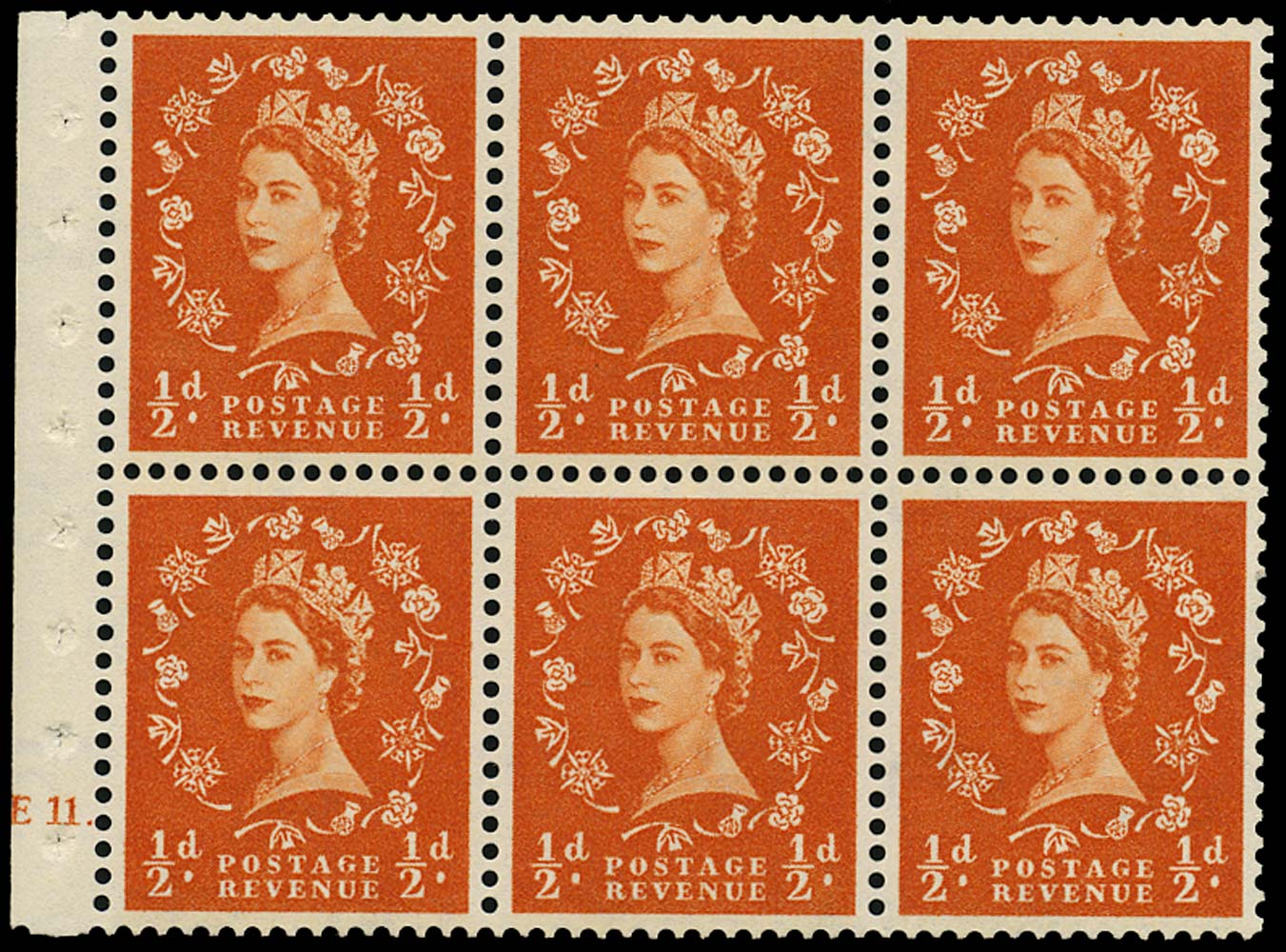 GB 1958  SG570l Booklet pane E11 dot booklet pane of six