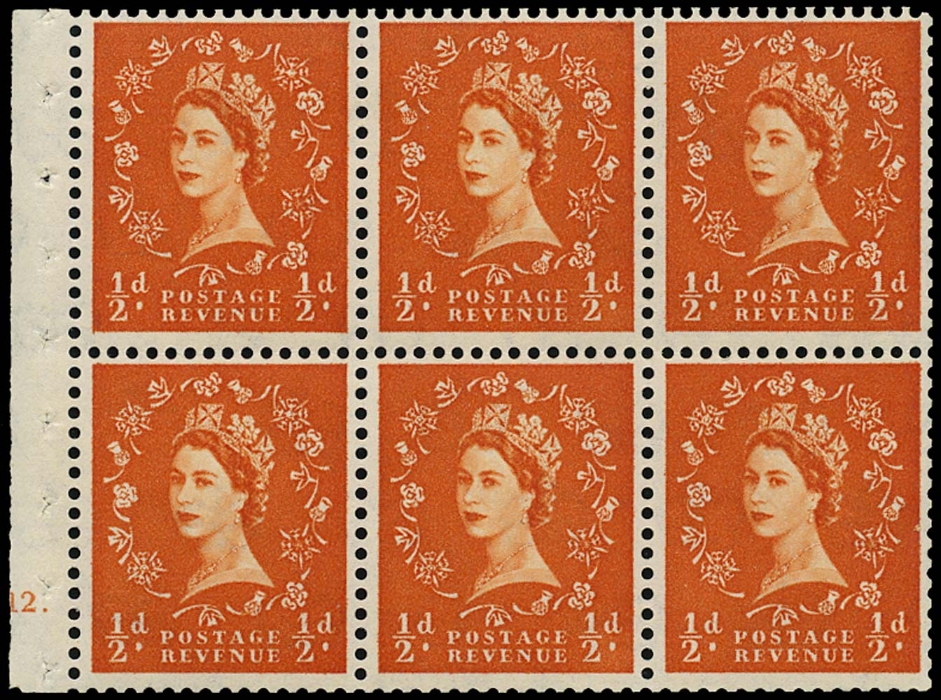 GB 1958  SG570l Booklet pane E12 dot booklet pane of six