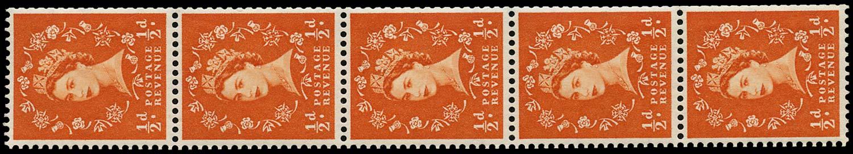 GB 1962  SG570var Mint coil strip Shamrock flaw