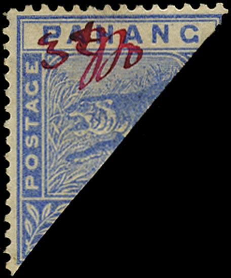 MALAYA - PAHANG 1897  SG18d Mint 3c on half of 5c blue Kuala Lipis provisional