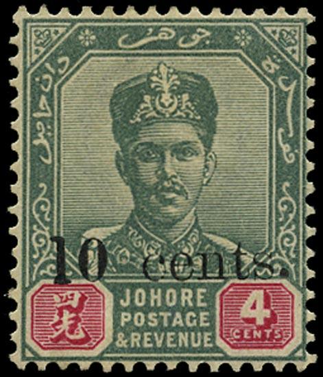 MALAYA - JOHORE 1903  SG55ba Mint 10c on 4c variety Tall 1 in 10